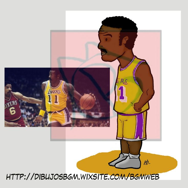 NBA, Lakers, balonces, caricatura, Bob McAdoo