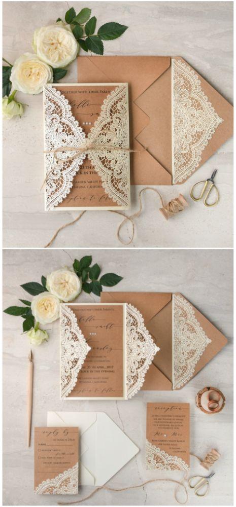 Laser cut lace wedding invitation #wedding #weddingideas #lasercut #eco #romantic #rustic #vintage