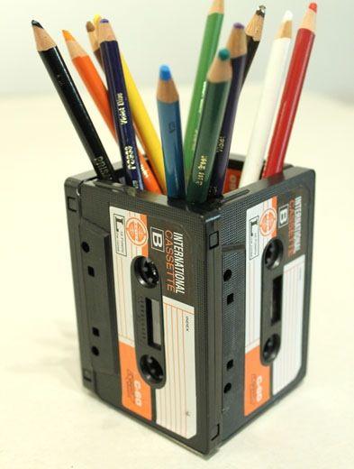retro desk tidy....use old cassette music likes...