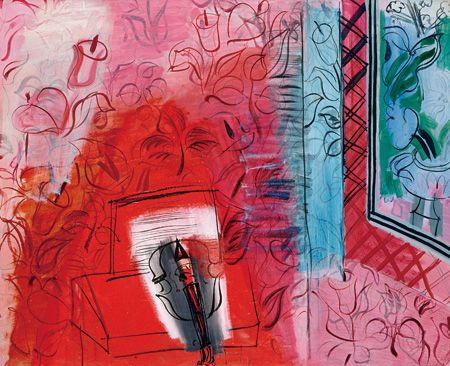 ラウル・デュフィ『ヴァイオリンのある静物:バッハへのオマージュ』1952年 油彩、カンヴァス パリ国立近代美術館、ポンピドゥー・センター ©Centre Pompidou, MNAM-CCI, Dist. RMN-Grand Palais / Jean-Claude Planchet / distributed by AMF