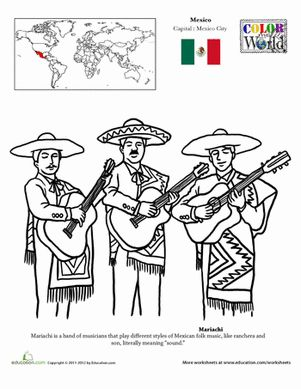 Mariachi Coloring Page Birthday