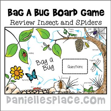 Bag a Bug Printable Board Game - Review Insect and Spider facts with this fun, interactive game. Includes blank cards so you can add your own bug facts. www.daniellesplace.com