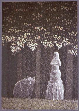 Tapaaminen metsässä Väinö Rouvinen, etsaus akvatinta 1998