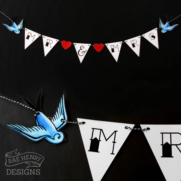 Swallows Wedding Bunting By Rae Henry Designs. Mr & Mrs Tattoo Sailor Jerry Rockabilly