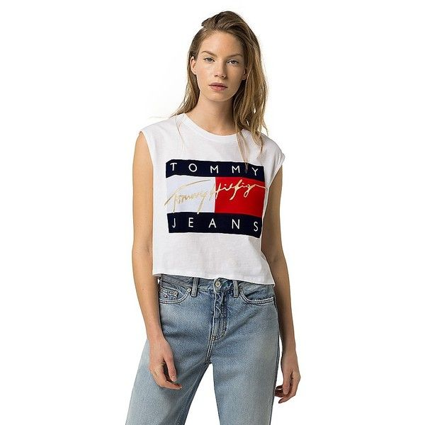 tommy hilfiger tommy jeans cropped muscle tee 50 liked. Black Bedroom Furniture Sets. Home Design Ideas