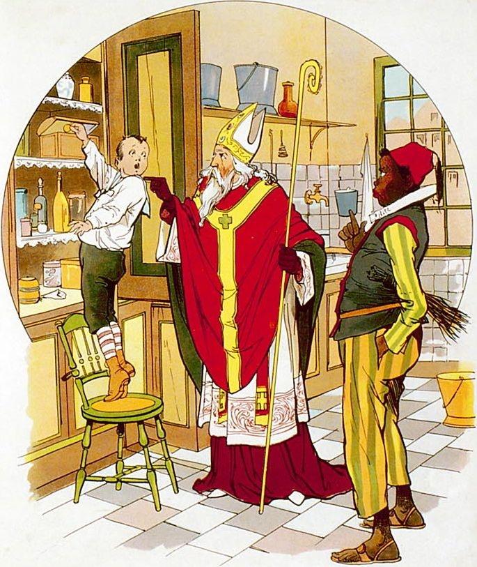 Sint Nicolaas bij een snoeper      De trommel is vol nog!    Geen mens, die mij ziet;    Dus spoedig een koekje,    Dat mist men toch niet.    Help! Hemel, wat is dat,    Wie grijpt mij bij 't oor?    O wee! 't is Sint Nicolaas,    Hoe raak ik er door!    Ach, bisschop van Spanje!    Ach, laat mij maar gaan,    'k Zal nooit aan de trommel    Mijn handen weer slaan.