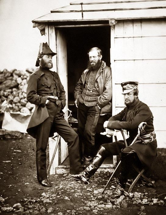 Captain Ponsonby, Captain Pearson & Captain Markham, on the staff of Sir George Brown, taken during the Crimean War.