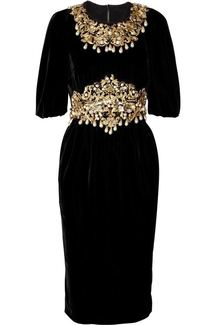 Dolce & Gabbana Embellished velvet dress NET-A-PORTER.COM