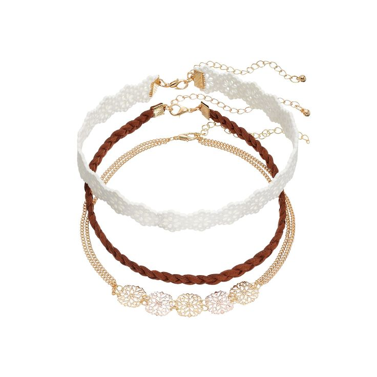 Mudd® Braided Faux Suede & Floral Choker Necklace Set, Women's, Brown