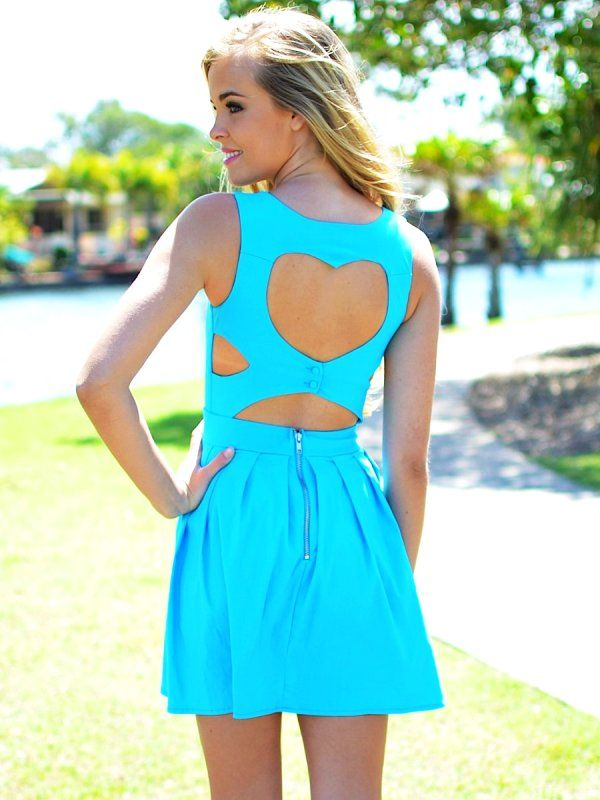 Hot Blue Open Heart Back Dress for Girls -  Sexy Cut out Heart Back Dress http://www.loveitsomuch.com