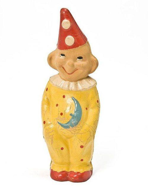 Clown, ancien jouet pouet vintage squeak toy, 1965/75