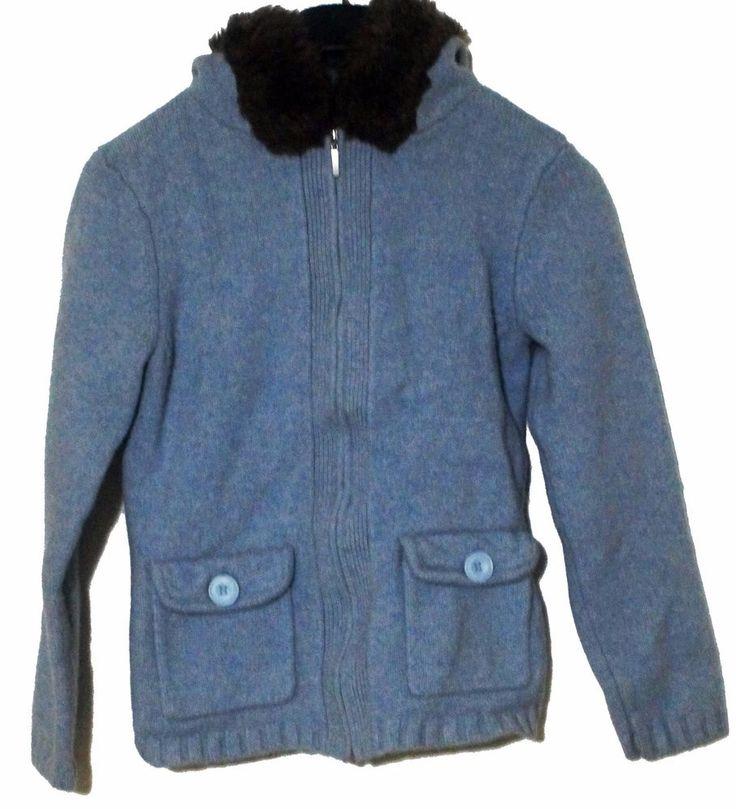 Crazy Horse Lambs Wool Blue Women's Hoody Sweater Zip Up Jacket Coat Size Medium #CrazyHorse #BasicJacket #Casual