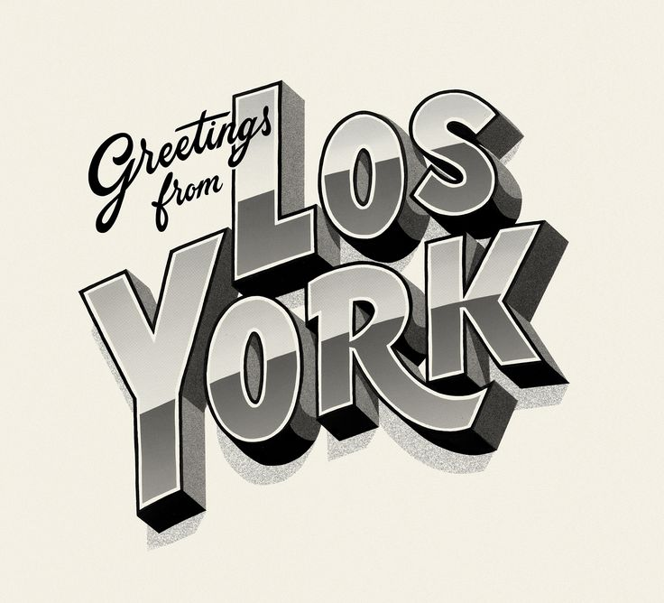 Greetings from Los York – Typographic illustration for creative agency, Los York.