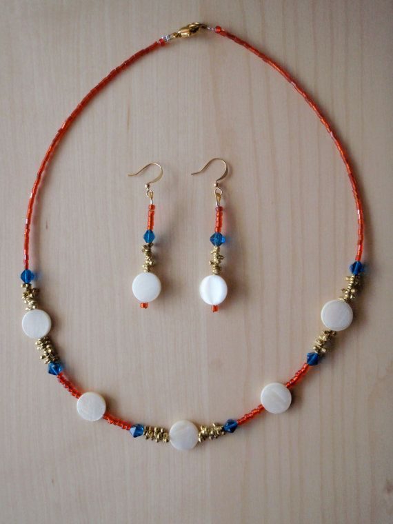 Red blue gold with white shell set by RosemarysJewellery on Etsy