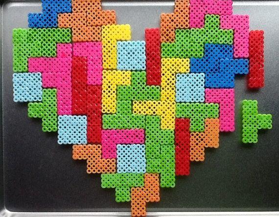Tetris Perler Heart Magnet Set by UnshelvedDesigns on Etsy, $35.00