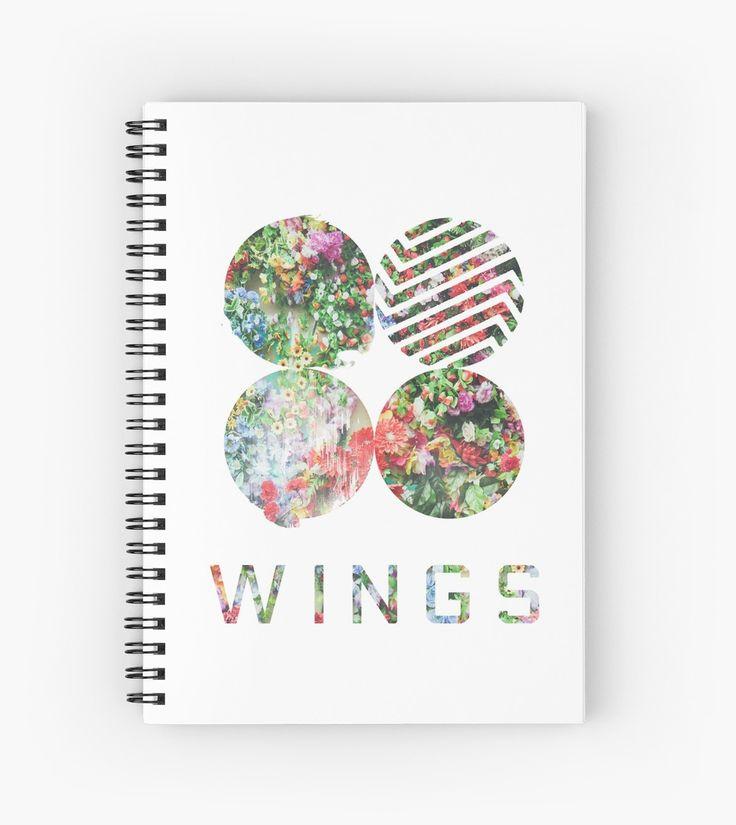 Cuadernos de espiral «WINGS BTS FLORAL» de yikesitsyeya   Redbubble