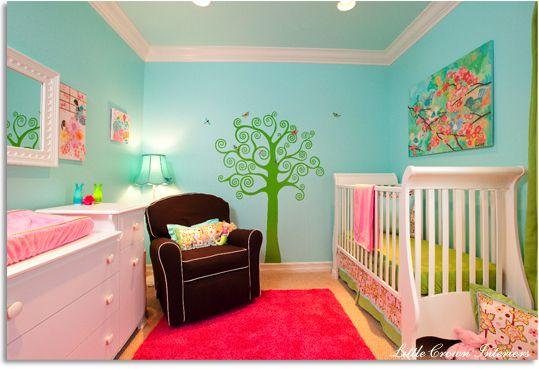 Baby girl room idea, colours: aqua, pink, and lime  CUTE!!: Babies, Girls, Girl Room, Nurseries, Color, Baby Girl, Nursery Ideas, Baby Room, Kid