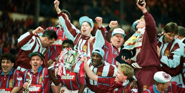 Villa players celebrate their 3-1 victory over Manchester United in the 1994 Coca Cola Cup final
