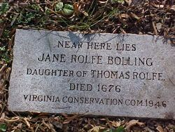 Jane Rolfe Bolling- 10thGreat Grandma  Grand daughter of Pocahontas