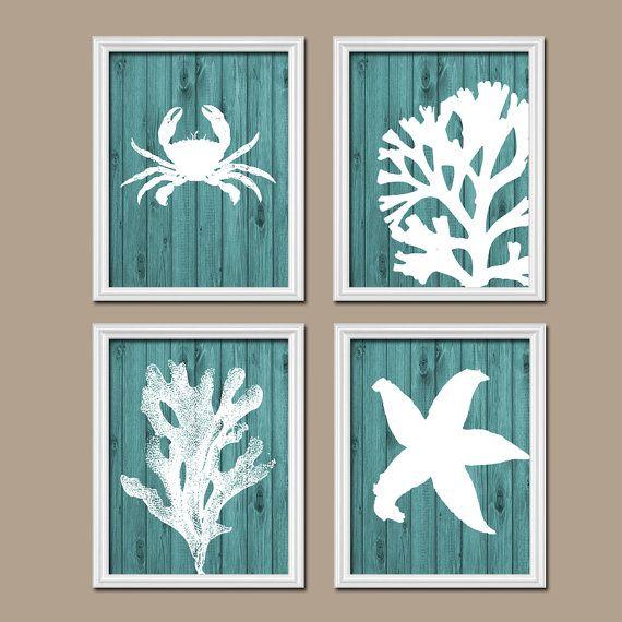 Beach Bathroom Wall Art Canvas Or Prints Nautical Coastal Bathroom Decor Aqua Starfish Seahorse Coral Reef Wood Plank Design Set Of 4