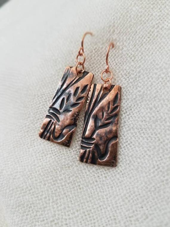 Embossed Copper Wheat Earrings In Two Sizes And Embossed Etsy In 2020 Embossed Silver Earrings Artisan Earrings