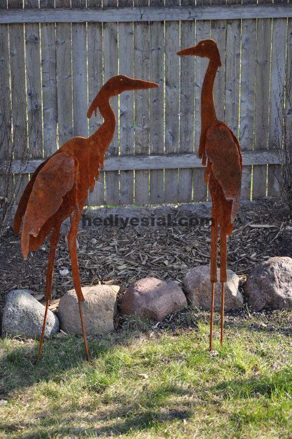 Metal Garden Art Sculptured Heron Set Von Northwindmetalart Garden Heron Metal Northwindmetalart Sculptured Metallbaum Altmetallkunst Kunst Skulpturen