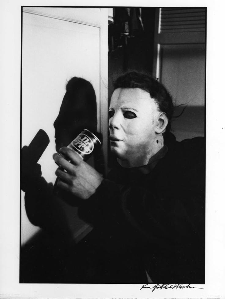A candid shot from the set of the original Halloween of Michael Myers enjoying an ice cold Dr. Pepper before the slaughter. Ahhhh delicious