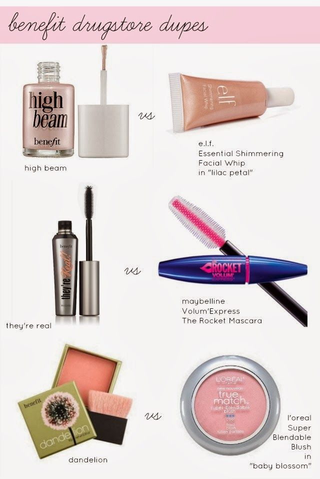 Benefit drug store dupes. Perfect because I love benefit but it's just so expensive!