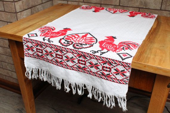 Easter tablecloth.Embroidered Kitchen towel.Rooster Decor.Greek embroidery.Table Runner.Wedding towel.Red Rooster.Gift machine embroidery.