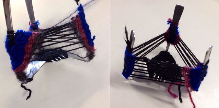 Weaving around reclaimed forks, by a KMHS Year 10 Visual Arts student.