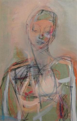 "Kate Long Stevenson ""Woman, Parma"" oil, gouache, oil pastel + charcoal on linen, ""18x28"""