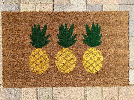 Pineapple doormat hand painted custom outdoor welcome for Pineapple outdoor decor