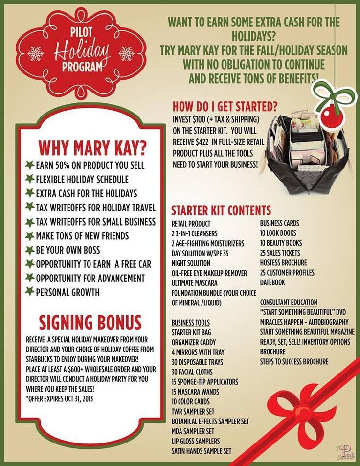THE PILOT HOLIDAY PROGRAM - try Mary Kay for the Fall/Holiday season with no obligation to continue and receive tons of benefits. Click here to learn more --> http://www.marykay.com/wphazel/en-US/BeABeautyConsultant/Pages/Default.aspx #WendyHazelMK