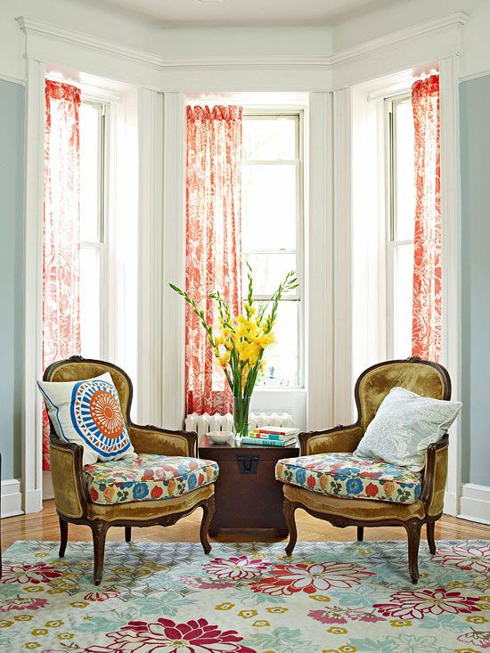 Bay windows are perfect for a window seat space! More decor ideas here: http://www.bhg.com/home-improvement/windows/window-buying-guide/bay-windows/?socsrc=bhgpin062714baywindowtreatment&page=4