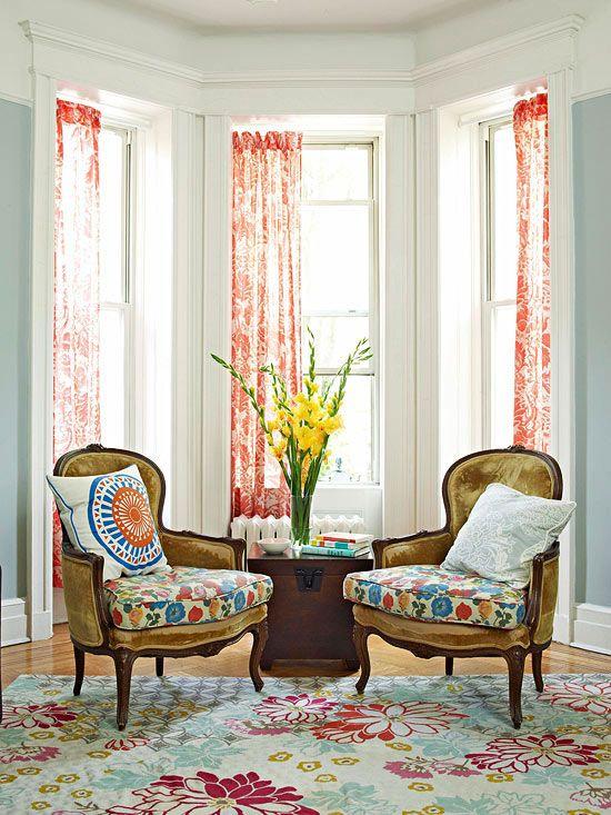 Vintage Charm: Bay Window Ideas, Interior, Design Ideas, Color, Bay Window Treatments, Living Room, Bay Windows, Flea Market, House