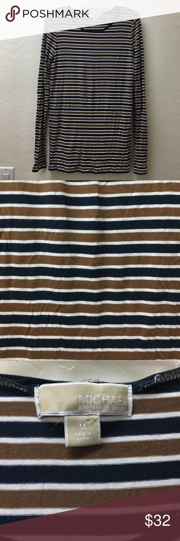 Lovely Michael Kors long sleeve Tshirt Lovely soft Micheal Kors Horizonal strips Tshirt . EUC MICHAEL Michael Kors Tops Tees - Short Sleeve