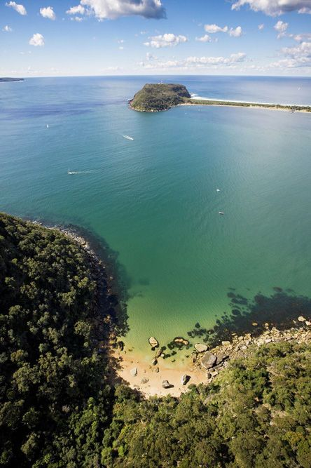 Aerial view of Great Mackerel Beach at Ku-Ring-Gai National Park, Barranjoey headland in background. Image Hamilton Lund, Tourism NSW