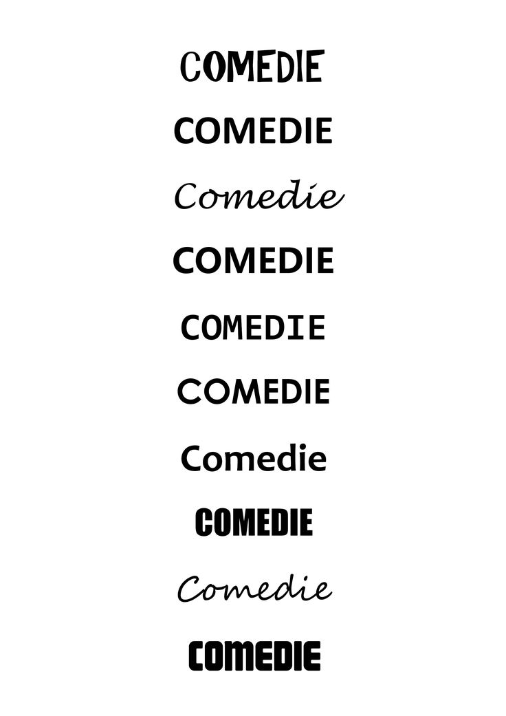 Typografie: 10 lettertypes die passen bij mijn gekozen filmgenre (comedie). 1. ar christy 2. calibri 3. lucida handwriting 4. microsoft YaHei UI 5. Consolas 6. Century Gothic 7. Candara 8. Impact 9. Segoe Script 10. Magnum Bijna altijd zijn het schreefloze lettertypes die vetgedrukt zijn en in kapitalen. Voor romantische komedie wordt er soms ook gebruik gemaakt van handschriften.