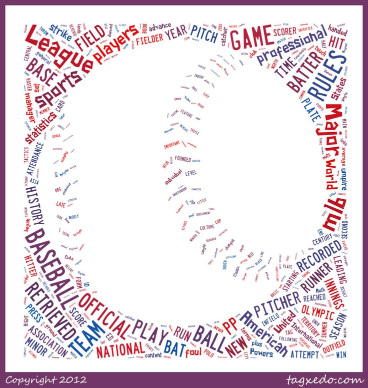 Baseball art I made with Tagxedo! (This site could steal hours of my life!) http://www.tagxedo.com