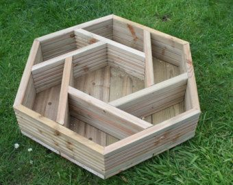 Handmade hexagonal wooden herb wheel garden planter, timber herb planter