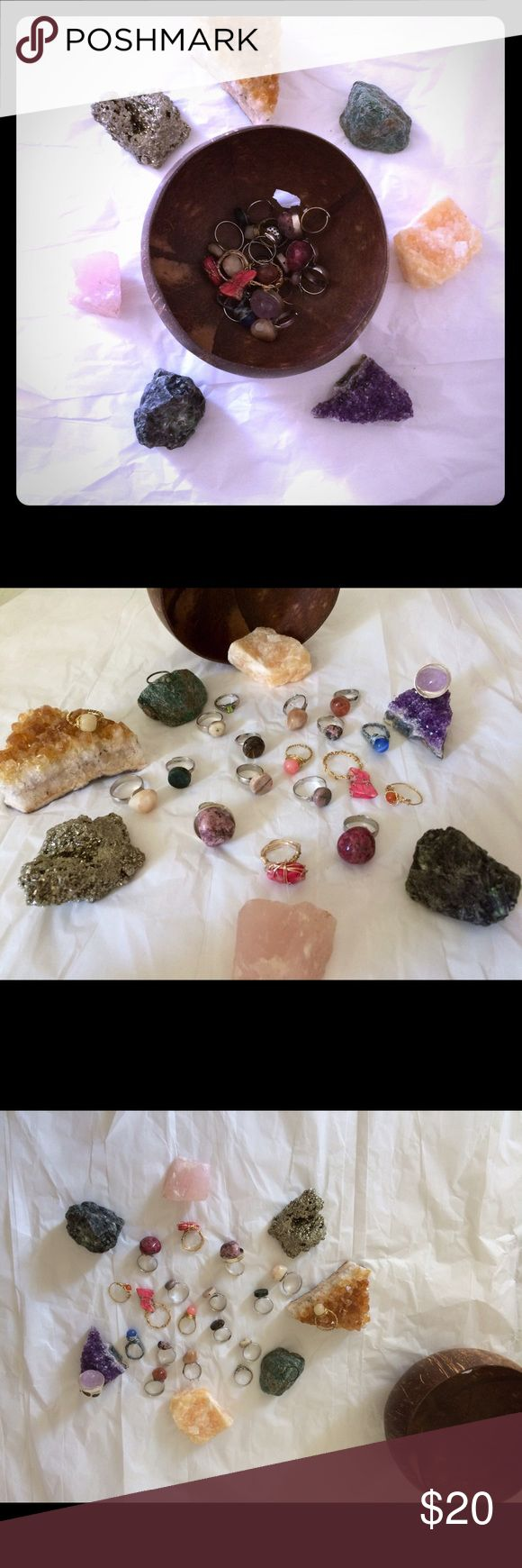 SPIRITUAL 8 MYSTERY RING BUNDLE! NWT!  ALL GENUINE SEMI-PRECIOUS STONES THAT COME WITH RESPECTIVE MEANINGS!  Some are OS FITS ALL ADJUSTABLE BANDS, BUT PLEASE MESSAGE ME YOUR SIZE! Lala Motifs Jewelry Rings