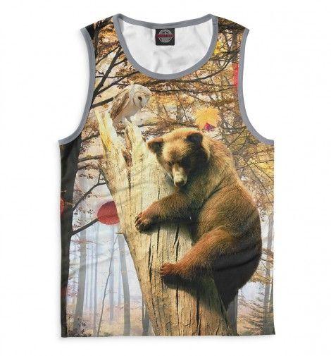 """Мужские майки """"Медведь на дереве с совой"""" — http://fas.st/6aWQWN"""