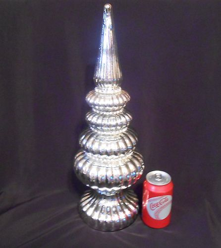Vintage mercury glass jeweled christmas tree spire table