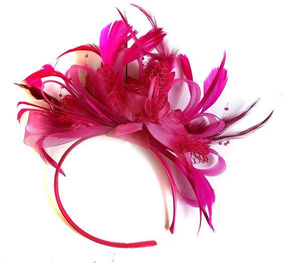 Fuchsia Hot Pink Wedding Fascinator Headband  Alice Band Ascot Races Loop Net