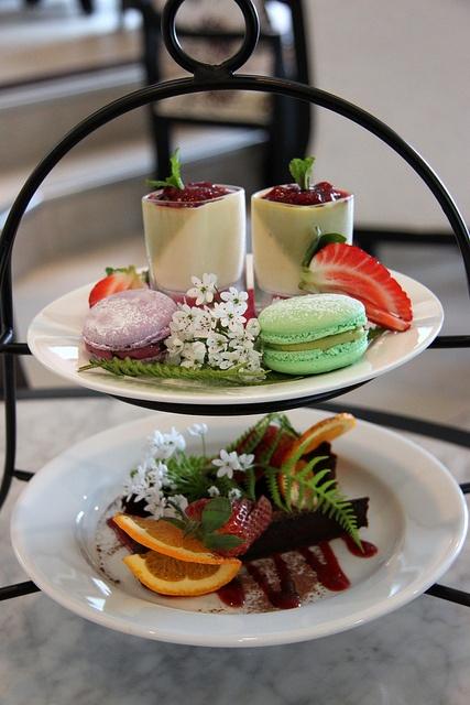 blueberry and tea macaroons, oolong tea pana cota and chocolate cake - Camellia Tea House - Hamilton, NZ