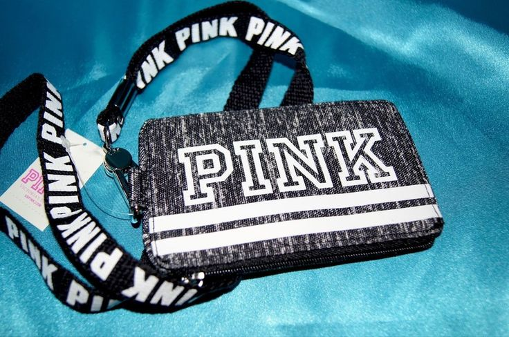 Victoria's Secret PINK I.D. Case Lanyard Badge Holder Gray White Neon Yellow NWT #VictoriasSecret