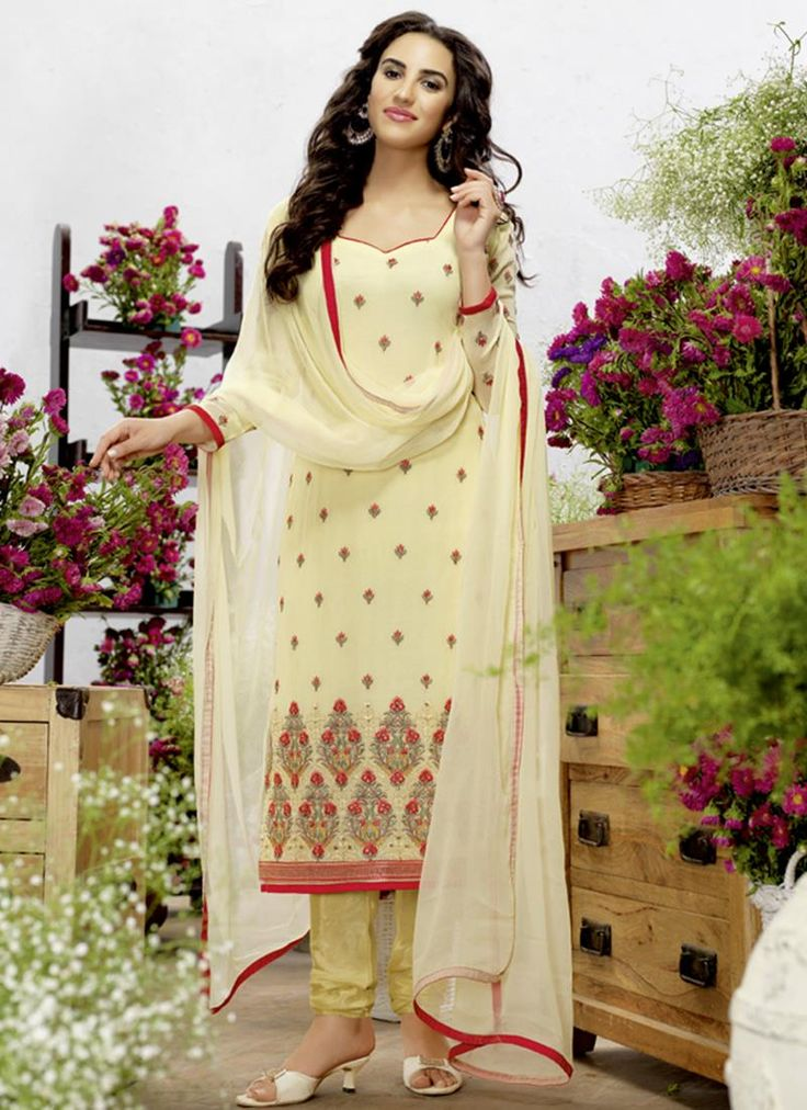 Resham Georgette Churidar Designer Suit in Yellow