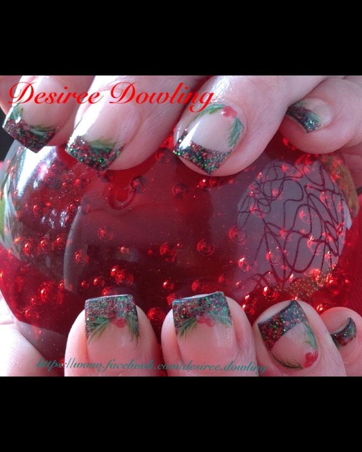 ONS Dark Angel Collection -Anger, hand painted leaves with ONS Cocktail Collection - Kiss of fire, berries.  This pic shows the Dark Angel - Anger better My client who loves the Dark Angel Collection waited all year for this colour!