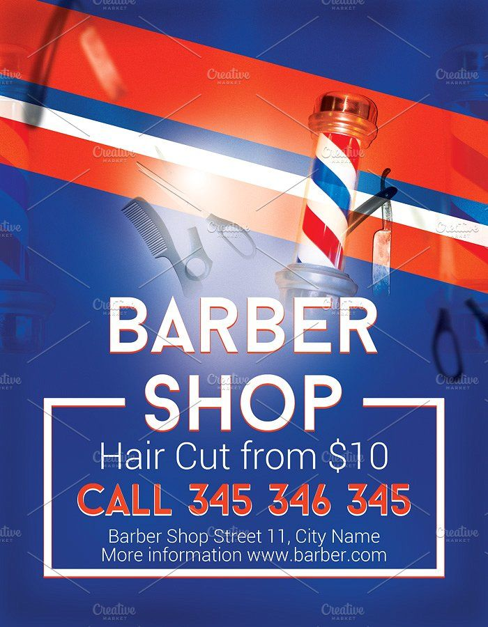 Modern Barber Shop Flyer by Krukowski Graphics on @creativemarket