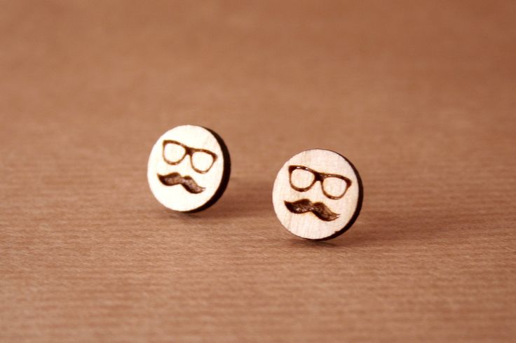 Laser cut wooden earrings  Mustache man earrings.